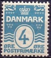 DENEMARKEN 1907-12 4öre Golflijn WM Kroon Perf 12¾ PF-MNH