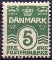 DENEMARKEN 1907-12 5öre Golflijn WM Kroon Perf 12¾ PF-MNH