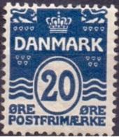 DENEMARKEN 1907-12 20öre Golflijn WM Kroon Perf 12¾ PF-MNH