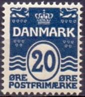DENEMARKEN 1907-12 20öre Golflijn WM Kroon Perf 12¾ Zwartblauw PF-MNH