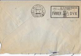 STORIA POSTALE REGNO- BUSTA DA EBOLI - ANNULLO A TARGHETTA FUHRER - DUX - 1900-44 Victor Emmanuel III