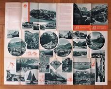 Brochure + Carta Turistica Delle Dolomiti. S.A.D. Società Automobilistica Dolomiti. 1938 - Mappe