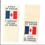 2 Vignettes De Gaulle Différentes  Gommées émises En AEF Lors Dernier Conflit En 1942. Bon état. - Neufs