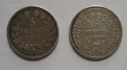 Duo 5 Frs CERES 1870 A Avec Légende & 5 Frs CERES 1870 A Sans Légende - J. 5 Francs