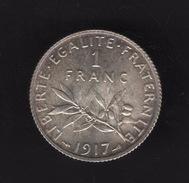 Pièce De 1 Franc Argent 1917 France,  - Ref, B70 - France