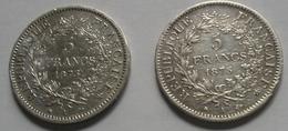 2 Pièces De 5 Francs Hercule 1875 A - J. 5 Francs