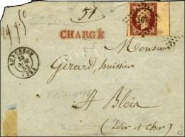 PC 167 / N° 17 Carmin Velours Bdf Filet D'encadrement (pli Diagonal) Càd T 15 AUBUSSON (22) 25 NOV. 55... - 1853-1860 Napoleon III