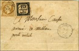 Càd T 22 ST BEAUZELY (11) Sur Lettre Insuffisamment Affranchie Pour Millau, N° 13 + Taxe N° 2... - 1853-1860 Napoleon III