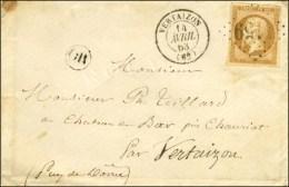 GC 4159 / N° 13 Type II (belles Marges) Càd T 15 VERTAIZON (62) Sur Enveloppe Carte De Visite Locale.... - 1853-1860 Napoleon III