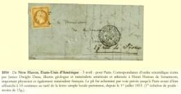 Etoile / N° 13 Càd LETTRE AFFR. DE PARIS POUR PARIS Sur Lettre Avec Texte Daté De New Heaven... - 1853-1860 Napoleon III