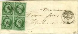 PC 135 / N° 12 (vert Foncé Sur Vert, Bloc De 4) Càd T 15 ARNAY-LE-DUC (20) Sur Lettre Pour... - 1853-1860 Napoleon III