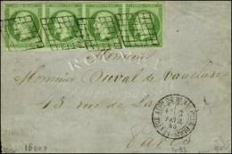 Grille / N° 12 Bande De 4 (2 Ex Pd) Càd LETTRE AFFie DE PARIS POUR PARIS 3 FEVR. 55 Sur Devant De Lettre... - 1853-1860 Napoleon III