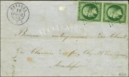 PC 2893 / N° 12 (vert Foncé Sur Vert, Paire) Càd T 15 SEYSSEL (1). 1855. - TB / SUP. - R. - 1853-1860 Napoleon III