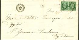 PC 516 / N° 12 Vert Foncé Sur Vert, Superbes Marges (paire) Càd T 15 BRETTEVILLE-L'ORGUEILLEUSE... - 1853-1860 Napoleon III