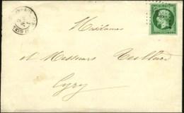 PC 3096 / N° 12 Vert Foncé Sur Vert, Belles Marges Càd T 15 ST GERMAIN-LEMBRON (62) Sur... - 1853-1860 Napoleon III