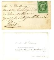 Losange D / N° 12 Sur Enveloppe Carte De Visite (avec La Carte) Pour Paris, Oblitération Jour De L'An. -... - 1853-1860 Napoleon III