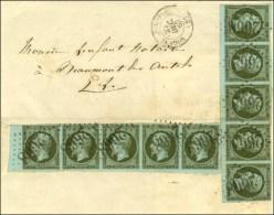 GC 2668 / N° 11 (nuance Exceptionnelle) Bande De 5 (bdf) + Bande De 5 (1 Ex. Petit Def) Càd T 15... - 1853-1860 Napoleon III