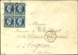 Etoile / N° 10 Bloc De 4 (belles Marges) Càd PARIS (60) Sur Lettre 3 Ports Pour Avignon. 1853. - TB /... - 1852 Louis-Napoleon