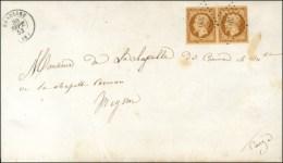 PC 309 / N° 9 (paire) Càd T 15 BEAULIEU (18) Sur Double Imprimé Complet Pour Meyssac. 1853. -... - 1852 Louis-Napoleon