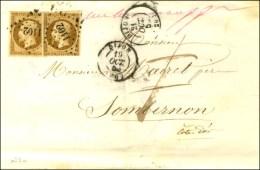 PC 1102 / N° 9 (superbes Marges) Càd T 15 DIJON 19 OCT. 50 Sur Lettre Insuffisamment Affranchie Pour... - 1852 Louis-Napoleon