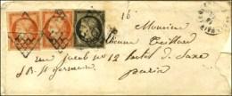 Grille / N° 3 + 5 (2 Ex. Def) Càd T 15 ST GERMAIN-LEMBRON 62 Sur Lettre 3 Ports Pour Paris. 1850.... - 1849-1850 Ceres