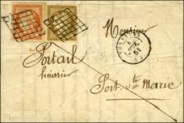 Grille / N° 1 (leg Def) + 5 (superbes Marges) Càd T 15 TONNEINS (45) Sur Lettre 2 Ports Pour Port Sainte... - 1849-1850 Ceres
