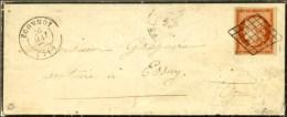 Grille / N° 5 Très Belles Marges Variété 4 Large Càd T 15 ECOMMOY (71) Sur Lettre... - 1849-1850 Ceres