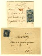 Lot De 2 Lettres Affranchies Avec N° 4 Dont Paire Pour La Savoie. - TB. - 1849-1850 Ceres