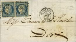 PC 441 / N° 4 Paire (belles Marges) Càd T 15 BORDEAUX (32) Sur Lettre 2 Ports Pour Dax. 1852. - TB /... - 1849-1850 Ceres