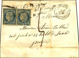 PC 886 / N° 4 Paire Càd T 15 CLERMONT-FERRAND 62 Sur Lettre 3 Ports Insuffisamment Affranchie... - 1849-1850 Ceres