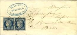 Grille / N° 4 Paire (belles Marges) Sur Lettre 2 Ports De Merlerault (Orne) Pour Paris, Au Verso Càd De... - 1849-1850 Ceres