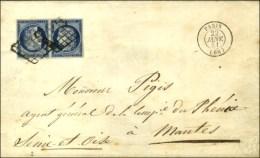 Grille / N° 4 Bleu Foncé Paire Tête-bêche Belles Marges Càd PARIS (60) Sur Lettre... - 1849-1850 Ceres