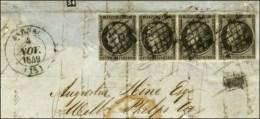 Grille / N° 3 Gris Noir Bande De 4 Càd T 14 JARNAC (15) Sur Grand Fragment. 1849. - TB. - R. - 1849-1850 Ceres