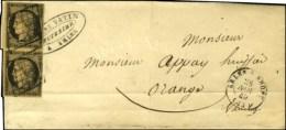 Grille / N° 3 Paire Nuance Chamois Foncé (très Belle Nuance) Càd T 15 ARLES-S-RHONE (12)... - 1849-1850 Ceres