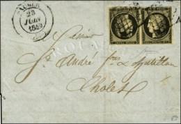 Grille / N° 3 Noir Sur Jaune Paire Tête-bêche Belles Marges Càd T 14 SAUMUR Sur Lettre Avec... - 1849-1850 Ceres