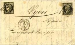Grille / N° 3 (2) Noir Sur Blanc Càd T 15 MARSEILLE (12) Sur Lettre 2 Ports. 1849. - TB / SUP. - 1849-1850 Ceres