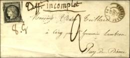 Grille / N° 3 Noir Sur Blanc Càd T 15 VERSAILLES 72 Sur Lettre 2 Ports Insuffisamment Affranchie Avec... - 1849-1850 Ceres