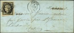 Grille / N° 3 Noir Intense Sur Blanc (superbes Marges) Càd T 15 MANTES (72) Sur Lettre Avec Texte... - 1849-1850 Ceres