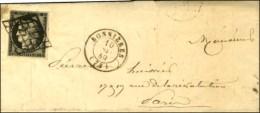 Grille / N° 3 Càd T 15 BONNIERES (72) Sur Lettre Avec Texte Pour Paris. 1849. - TB / SUP. - 1849-1850 Ceres