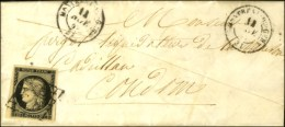Grille / N° 3 (belles Marges) Càd T 15 MONTREAL DU GERS (31) Sur Lettre Avec Texte. 1849. - TB. - 1849-1850 Ceres