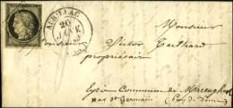 Grille / N° 3 (infime Def) Càd T 14 AURILLAC (14) 20 JANV. 1849 Sur Lettre Avec Texte Pour St... - 1849-1850 Ceres