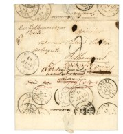 Càd T 14 OULCHY (2) 12 JANV. 1849, Taxe Tampon 2 Sur Lettre Avec De Nombreuses Réexpéditions.... - 1849-1850 Ceres