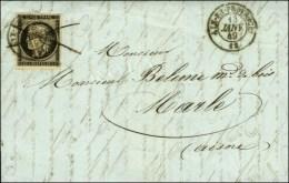Plume + Càd T 15 AIX-EN-PROVENCE 12 13 JANV. 49 / N° 3 (belles Marges) Sur Lettre Avec Texte Pour Marle... - 1849-1850 Ceres