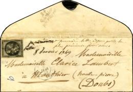 Rosette Du Bureau J / N° 3 (belles Marges) Càd (J) PARIS (J) 60 8 JANV. 49 Sur Lettre Pour Mouthier... - 1849-1850 Ceres
