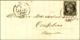 Càd T 14 LIMOGES (81) 7 JANV. 49 + Plume Sur Lettre Avec Texte Pour Confolens. Au Verso, Càd... - 1849-1850 Ceres