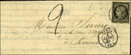 Càd T 15 PARIS (60) 4 JANV. 49 / N° 3 Sur Lettre Double Port Insuffisamment Affranchie, Taxe Tampon 2. -... - 1849-1850 Ceres