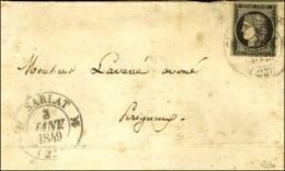 Càd T 12 SARLAT (23) 3 JANV. 1849 / N° 3 Sur Lettre Pour Périgueux, Au Verso Càd... - 1849-1850 Ceres