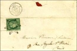 Etoile / N° 2 Vert Foncé (filet Inférieur Droit Court Et Non Touché) Sur Lettre Avec Texte... - 1849-1850 Ceres