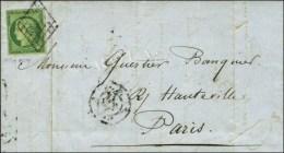 Grille / N° 2 Sur Lettre Avec Texte De Paris Pour Paris. Au Verso, Càd D'arrivée 12 JUIL. 51. -... - 1849-1850 Ceres