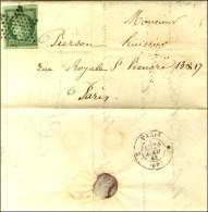 Etoile / N° 2 (filet Droit Effleuré) Sur Lettre Avec Texte De Paris Pour Paris, Au Verso Rare Càd... - 1849-1850 Ceres